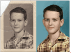 A damaged photograph restored and colorized