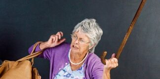 an elderly lady angry she has been assaulted
